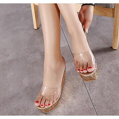 sandalias Blanca otro Oro exterior Plata cuña mujeres LFNLYX sintética de verano Rosa piel de Verde de Pink Las talón TEAHn1