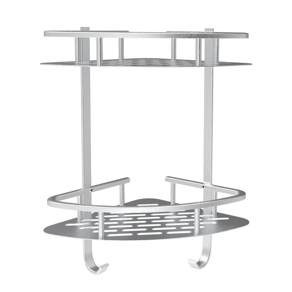 LuckIn Bathroom Shower Corner Shelves-No Drilling Shower Shelf Aluminum 2 Tier Shampoo Basket Holder, Kitchen Adhesive Suction Shower Caddy
