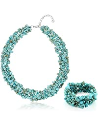 "17""+ 1"" Extender Simulated Turquoise Chips Necklace and 7"" Stretchy Bracelet Set"