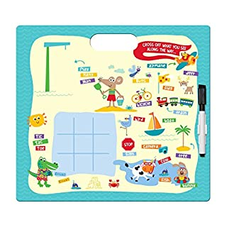 C.R. Gibson Dry Erase Animal Beach Board Game for Kids, 2pc, 12'' W x 11'' H