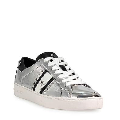 promo code various colors huge range of Michael Kors Womens Frankie Stripe Sneaker Leather Low Top, Silver, Size 5.0