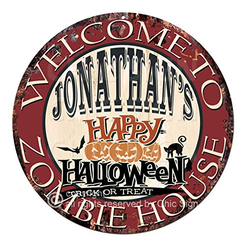 Welcome to The Jonathan'S Happy Halloween Zombie House Chic Tin Sign Rustic Shabby Vintage Style Retro Kitchen Bar Pub Coffee Shop Man cave Decor Gift Ideas]()