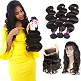 Ossilee Hair 8A Grade 360 Lace Frontal Closure with Bundles Malaysian Body Wave Hair Bundles with 360 Lace Frontal Unprocessed Human Hair Bundles with Frontal (26 26 26+20 360frontal, Natural Color) Review