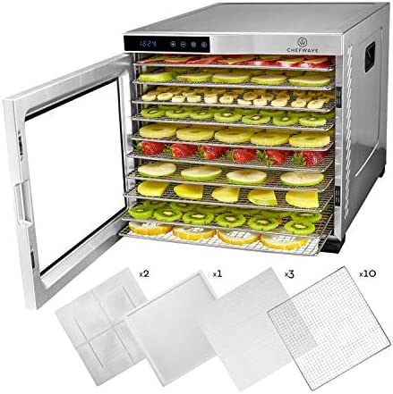 ChefWave 10 Tray Food Dehydrator Machine – Stainless Steel, Digital Temperature Control Timer, 3 Teflon Sheets, 2 Mesh Sheets and Drip Tray – for Dried Fruit, Jerky, Herbs – Recipe Book Included