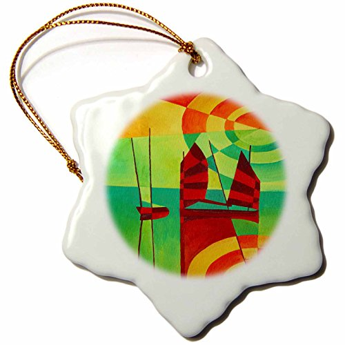 3dRose orn_63129_1 Still Waters Sunset, Sails, Contemporary, Seascape Snowflake Ornament, Porcelain, 3-Inch