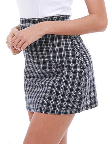 Mini Plaid Blue - ZEGOLO Women's Classic High Waist Plaid Mini Skirt Plus Size Zipper A-Line Casual Mini Short Skirt Navy Blue