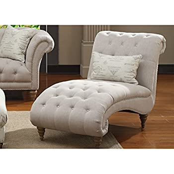 This Item Luxurious Off White Linen Look Plush Button Tufted Chaise With Accent Pillow Included Relaxation Living Room Chair Lounge