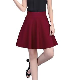 21ef1091fc4939 Rock Damen Elegant Mode Unifarben Nahen Taille Dehnbar Mädchen Kleidung  A-Linie Röcke Frühling Sommer