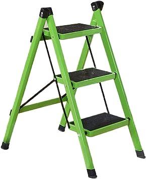 Gjrff Escalera plegable plegable de 3 escalones Escalera portátil Taburete for el hogar Escalera antideslizante Paso de acero de seguridad (Color : Green): Amazon.es: Bricolaje y herramientas