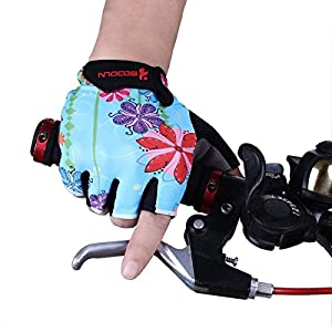 BOODUN Women's Shock-Absorbing Gel Pad Breathable Half Finger Mountain Bicycle Bike Road Racing Gloves, Medium