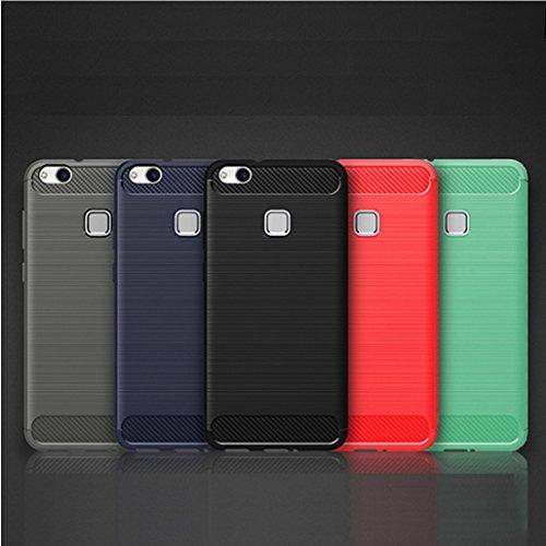 Funda Huawei P10 Lite,Funda Fibra de carbono Alta Calidad Anti-Rasguño y Resistente Huellas Dactilares Totalmente Protectora Caso de Cuero Cover Case Adecuado para el Huawei P10 Lite E