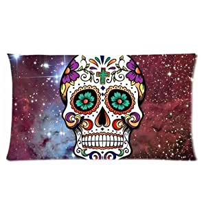 Galaxy Nebula Sugar Skull Art One Side Rectangle Pillowcase Pillow Cover 16x24 Inch