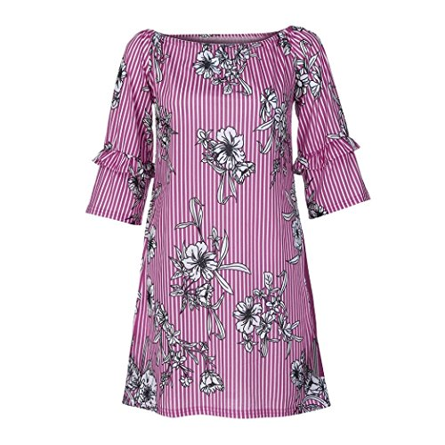 vermers Clearance Fashion Tops for Women - 2018 New Ladies 3/4 Sleeve Printing T Shirt Loose Casual Blouse(L, Purple) by vermers