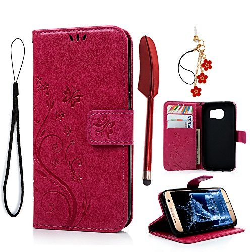 S7 Case,Galaxy S7 Case-(NOT for S7 Edge) MOLLYCOOCLE [Natural Luxury Hot Pink] Stand Wallet Purse Credit Card Holders Design Flip Folio TPU Soft Bumper PU Leather Slim Fit Cover for - Pink Case Flip Folio