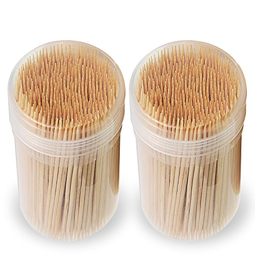 Mobi Lock Premium Bamboo Wooden Cocktail Toothpicks | Perfect for Everyday Use – Personal Hygiene, Cocktail Sticks or Arts & Crafts | Comes in 1000 pieces (2 Tubs of 500 pieces) 500 Piece Tub