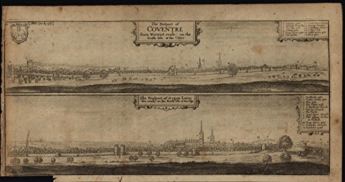 Wall Coventry Small (Prospects of Coventry England Birds-eye views 1765 rare antique engraved print)