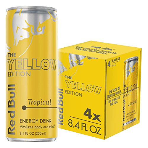 Red Bull Energy Drink, Tropical, 4 Pack of 8.4 Fl Oz, Yellow Edition