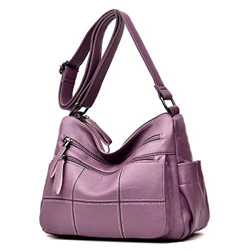Purple Stachel Lattice Fourre tout à Cuir Sac Lady Pu Main Bandoulière AIYIL Zipper à Bandoulière Multicolore Femmes Casual Grand Soft Sac Sac FBcnW1US
