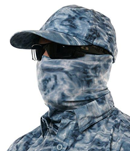Aqua Design Hunting Fishing Mask Camo Multipurpose Face Tube Wind Sun Protection Shield Bandana Youth to XL Headband Gaiter, Misty Sky, XL