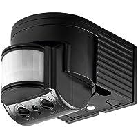 Goobay 96001 Infrarot Aufputz-Bewegungsmelder für Innen-und Außenbereich-180° Arbeitsfeld-Reichweite bis 12m-Dreh-/Neigbarer Erfassungsbereich-IP44 Schutzklasse-Spritzwasser geschützt - Schwarz