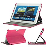 KAYSCASE BookShell Leather Cover Case for Samsung Galaxy Note 10.1 Tablet N8000 N8010 (Hot Pink)