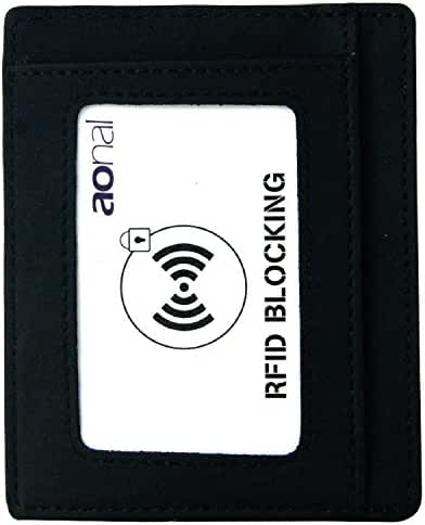 Mens Slim RFID Blocking Front Pocket Card Wallet