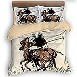 FAITOVE Polo Players 3 Piece Bedding Sets 200cm x 230cm Duvet Cover Set 2 Pillow Case 100% Microfiber, Full Size