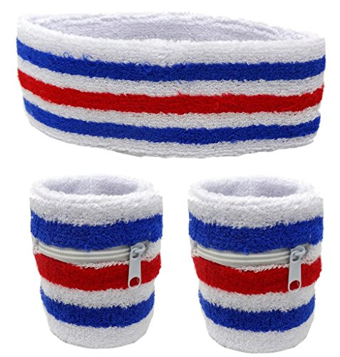 Funny Guy Mugs Unisex Sweatband Set (3-Pack: 2 Wristbands with Zipper/Wrist Wallet & 1 Headband) ()