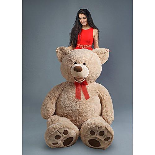 Teddy Bear Plush Giant Teddy Bears Stuffed Animals Teddy Bear Love Big Footprints 5 Feet Tan by HollyHOME
