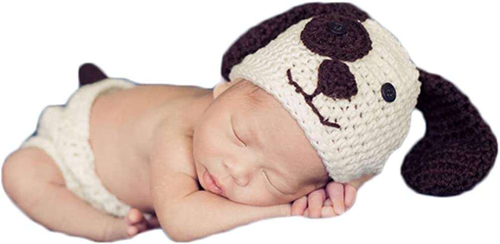 Newborn Baby Girl Boy Photo Props Outfits Crochet Knitted Dog Hat Shorts Set for Boys Girls Photography Shoot White