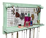 shabby chic kitchens SoCal Buttercup Shabby Chic Jewelry Organizer with Removable Bracelet Rod from Wooden Wall Mounted Holder for Earrings Necklaces Bracelets and Other Accessories