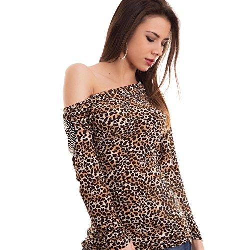Toocool–Camiseta mujer manga larga leopardo brillantes apertura hombros Pull Nuova YD05 Beige chiaro