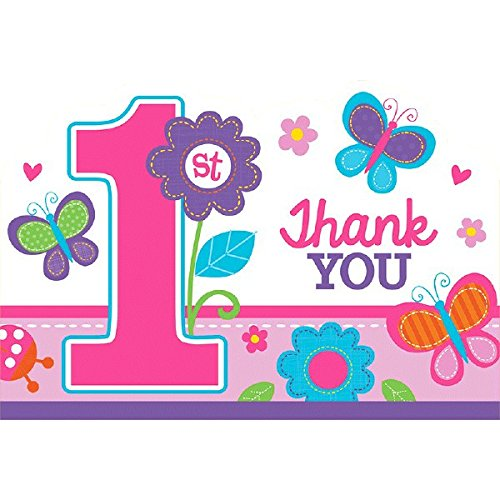 amscan 1st Birthday Girl Thank You Postcard | Flowers and Butterflies Collection | 48 Pcs.