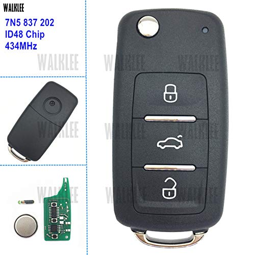 WALKLEE 7N5 837 202 Remote Key for SEAT 7N5837202 Alhambra/Altea/Ibiza/Leon/Mii/Toledo 434MHz with ID48 Immobilizer
