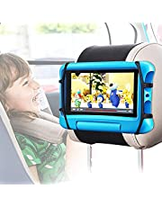 Car Headrest Mount Holder, Universal Car Tablet Holder for Back Seat, Angle Adjustment Tablet Holder for Car with Anti-Slip Strap and Soft Silicon Holder Net for 7-10.5 Inch iPad/Tablets/Kindle Fire