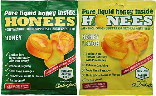 (Honees Cough Drops 2 Flavors Honey and Honey Lemon 2 Pack Total 40 drops)