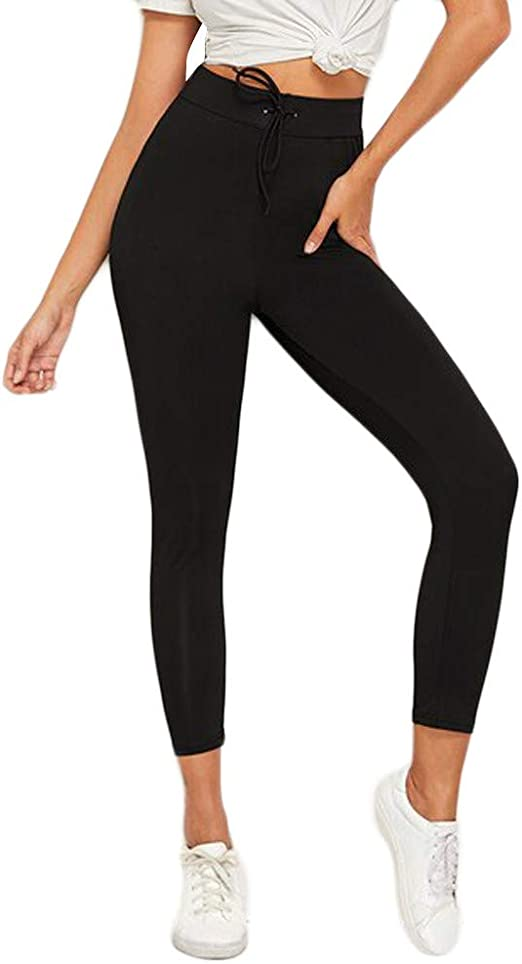 Womens Yoga Pants Workout Leggings Pull On Stretch Skinny Slim Sports Running Athletic Pants