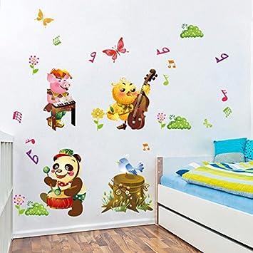 HCCY Schöne Kinderzimmer Wand Poster Animierten Cartoons Kindergarten  Klasse Schlafzimmer Wohnzimmer Dekor Aufkleber Tier Konzert Wall