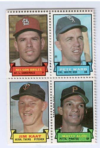 Topps Baseball Stamps - 1969 Topps Baseball Stamps Nelson Briles-Pete Ward-Jim Kaat-Matty Alou 4 Stamp Panel