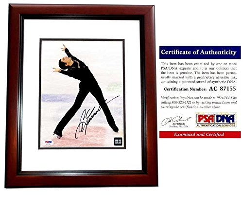 (Evan Lysacek Signed - Autographed Figure Skating 8x10 inch Photo - MAHOGANY CUSTOM FRAME - PSA/DNA Certificate of Authenticity (COA) - Gold Medal Winner/Dancing with the Stars )