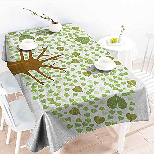 familytaste Tree,Decor Collection Table Cloths Sacred Fig Bodhi Tree Illustration Full of Leaves Spiritual Enlightenment 60