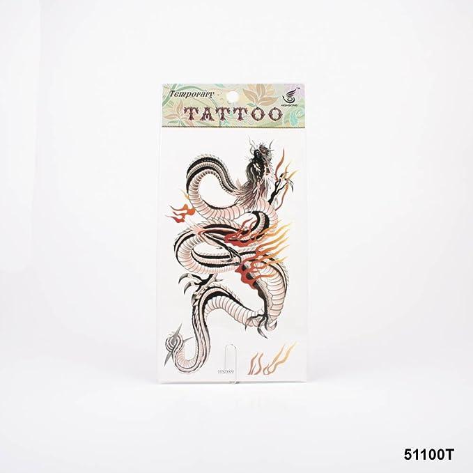 Tatuajes Dragón chino en negro con llamas: Amazon.es: Salud y ...