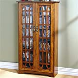 Bowery Hill 48'' Window Pane Media Cabinet in Oak