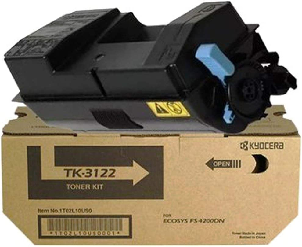 Pack of 2 M3040idn Kyocera 1T02L10US0 Model TK-3122 Black Toner Kit For use with Kyocera ECOSYS FS-4200DN M3540idn and M3550idn Laser Printers; Up to 21000 Pages Yield at 5/% Coverage