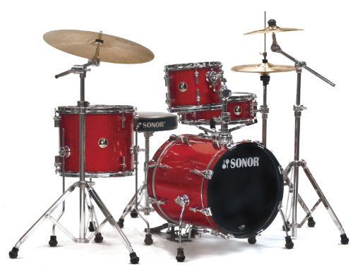 Sonor SSE 12 SAFARI C1 RGS 4-Piece Safari Drum Set Shell Pack in Red Galaxy Sparkle