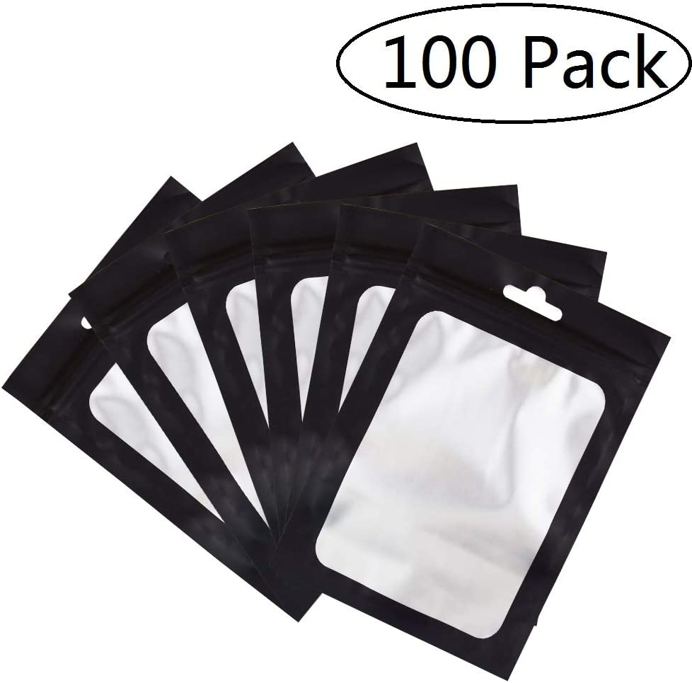 100 Pack Smell Proof Bags 5x8 inch, Odorless Mylar Bags with clear Window Heat Seal Pouch Food Safe Storage Aluminum Foil