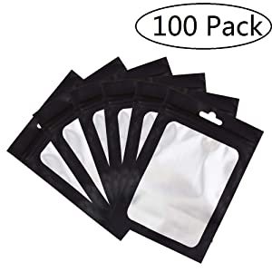 100 Pack Smell Proof Bags 4x6 inch, Odorless Mylar Bags with clear Window Heat Seal Pouch Food Safe Storage Aluminum Foil