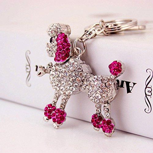 Jzcky Shzrp Fashion Poodle Crystal Rhinestone Keychain Key Chain Sparkling Key Ring Charm Purse Pendant Handbag Bag Decoration Holiday Gift(Aubergine)