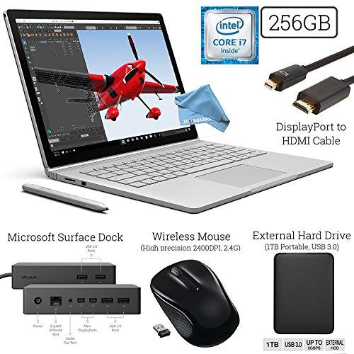 Microsoft Surface Book (256GB SSD, 8GB RAM, Intel 6th Gen Intel i7) + 2.4G Wireless Mouse + Microsoft Surface Dock + DisplayPort to HDMI Cable + 1TB External Hard Drive + DigitalAndMore Cloth Bundle