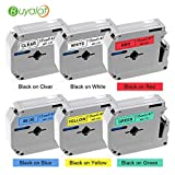Buyalot P-touch M Series Tape 12mm Compatible Brother M131 M231 M431 M531 M631 M731 Label Tapes for Label Maker PT-90 PT-70BM PT-70 PT-M95 PT-65 PT- 85, 6-Pack